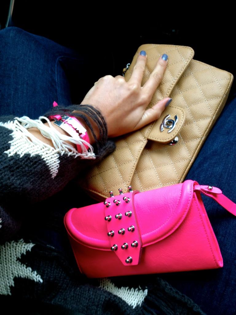 Chanel beige 2.55 flap bag, neon pink mcq by alexander mcqueen purse, mcq pink bracelet, razor blade.
