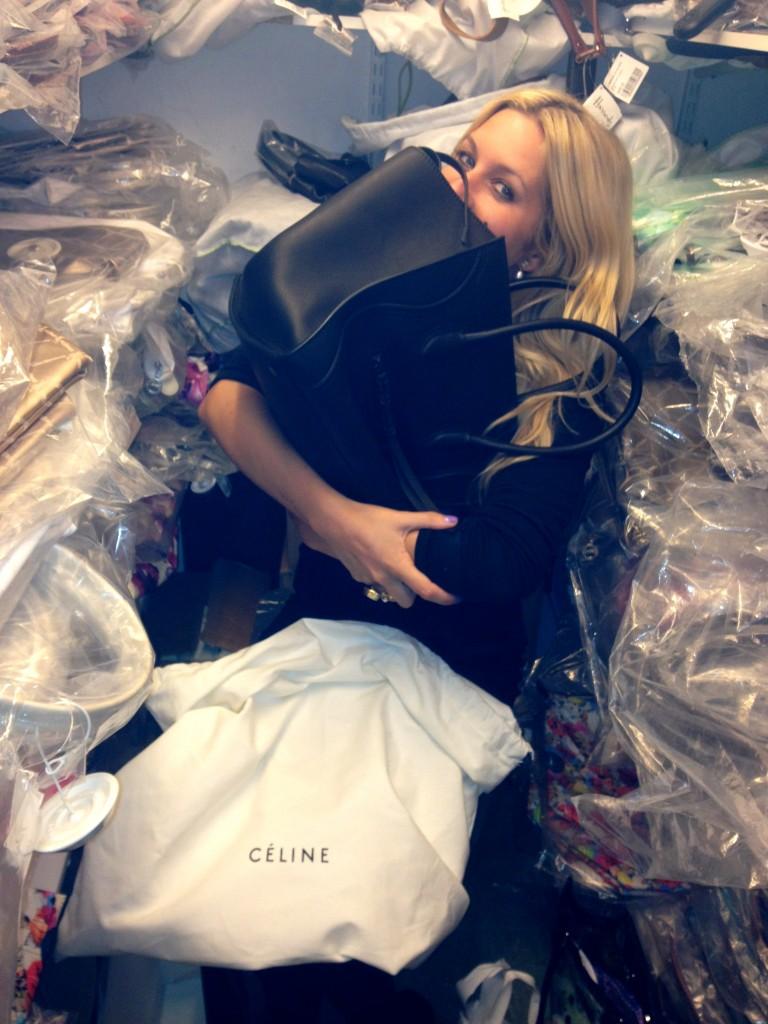 happy girl with Celine Phantom bag