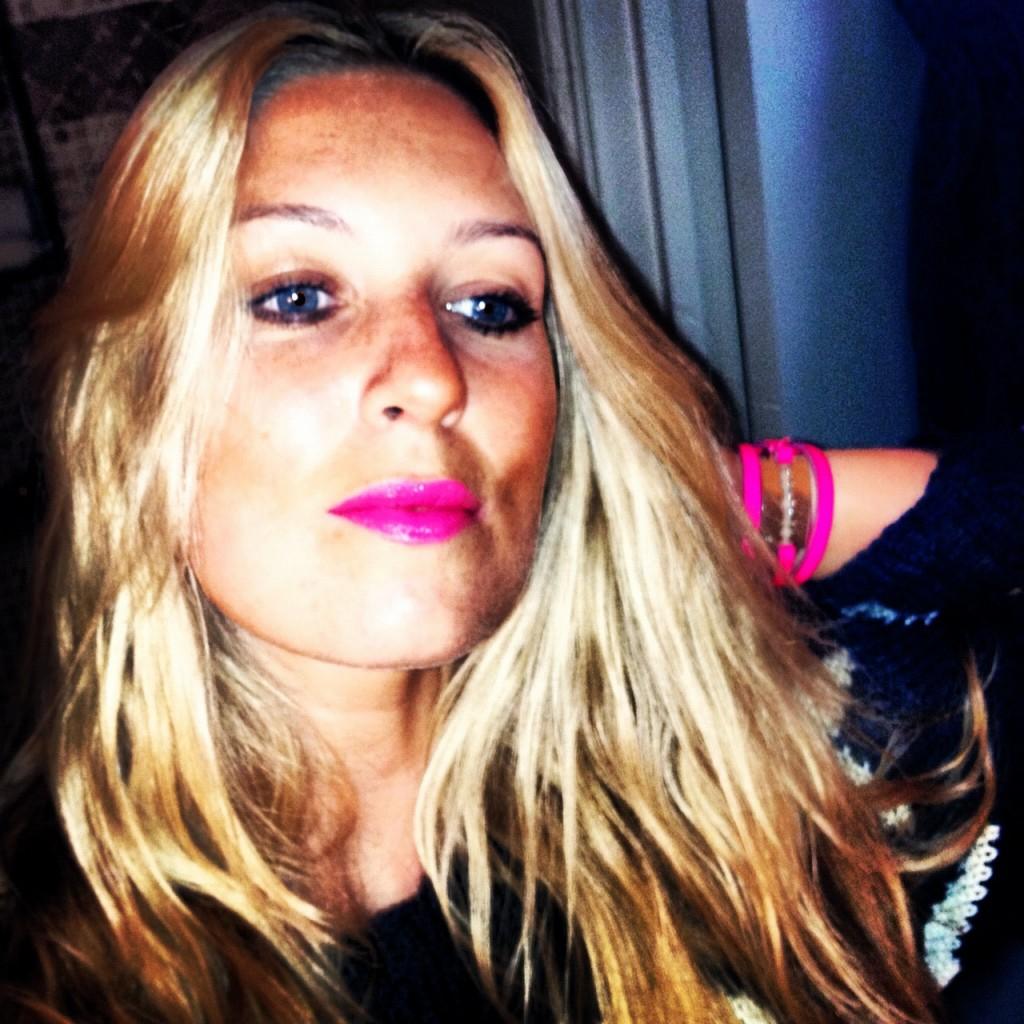 Pink lipstick, neon pink mcq alexander mcqueen razor blade bracelet