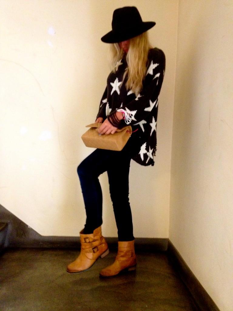 Wildfox black lennox star jumper kg boots reiss hat chanel beige 2.55 flap bag