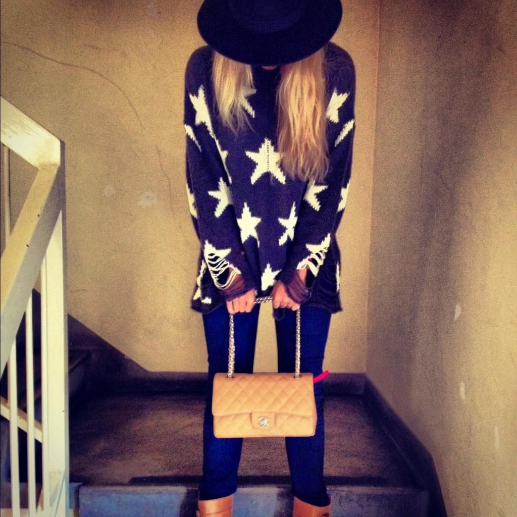 Wildfox star jumper, beige Chanel 2.55 clasic flap bag