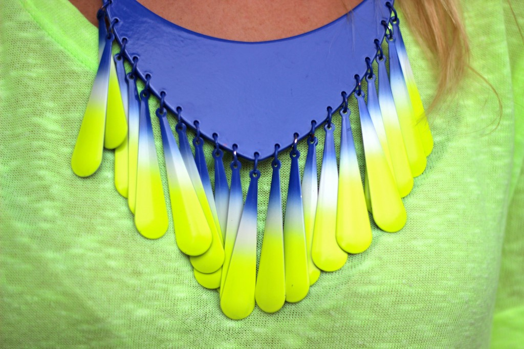 blue and yellow statement necklace fashion blog