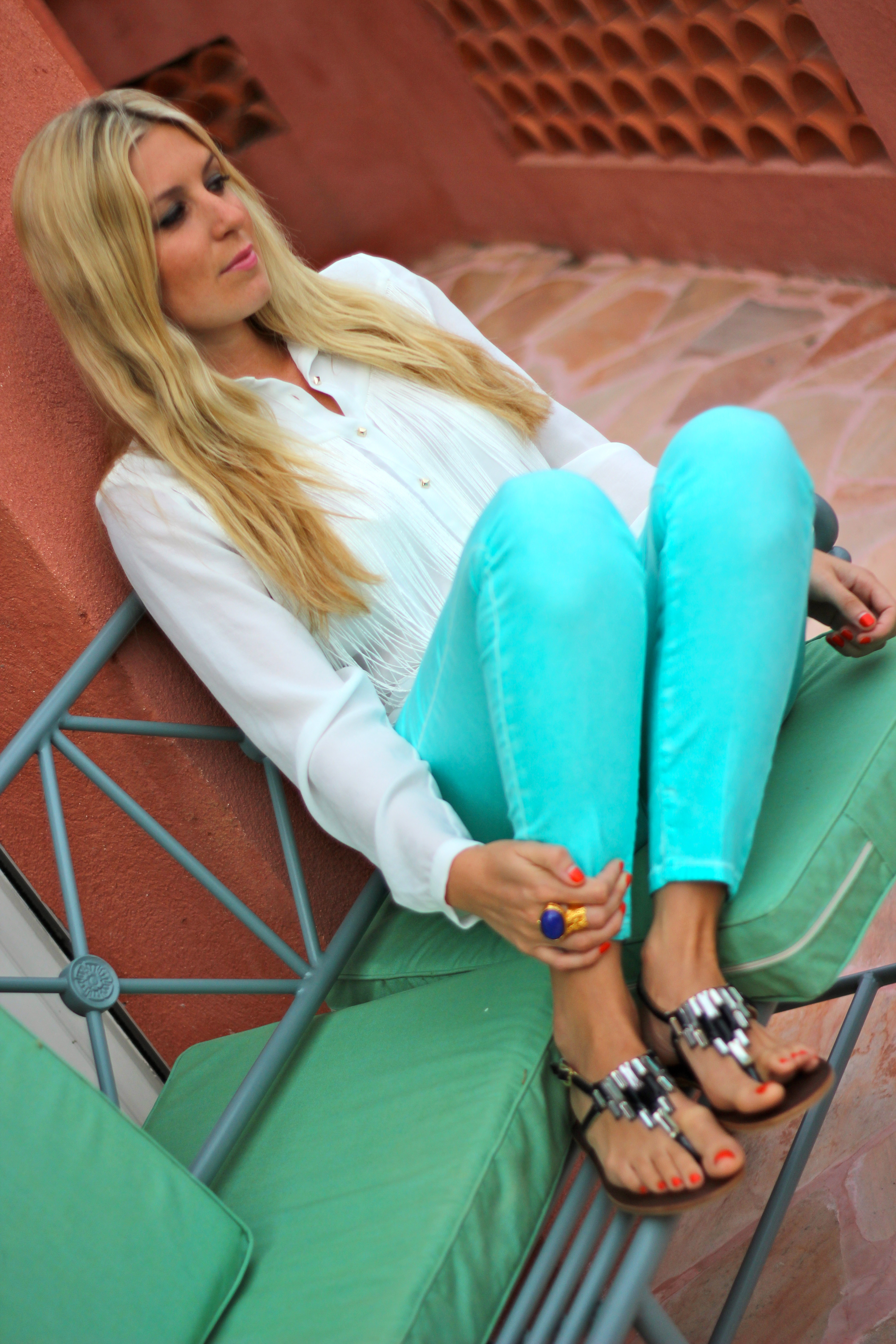 blue ysl oval arty ring turquoise denim spring look summer outfit fashion blog fashion blogger