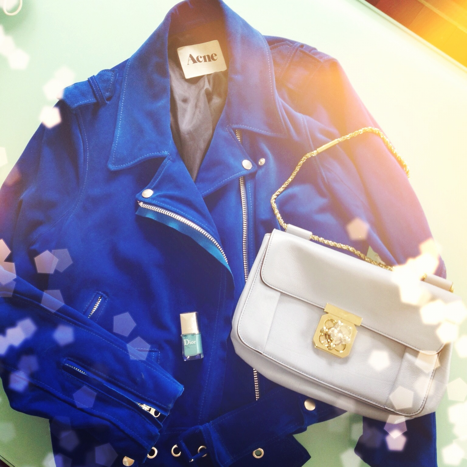 acne jacket blue chloe elsie purse bag dior nail polish uk fashion blog