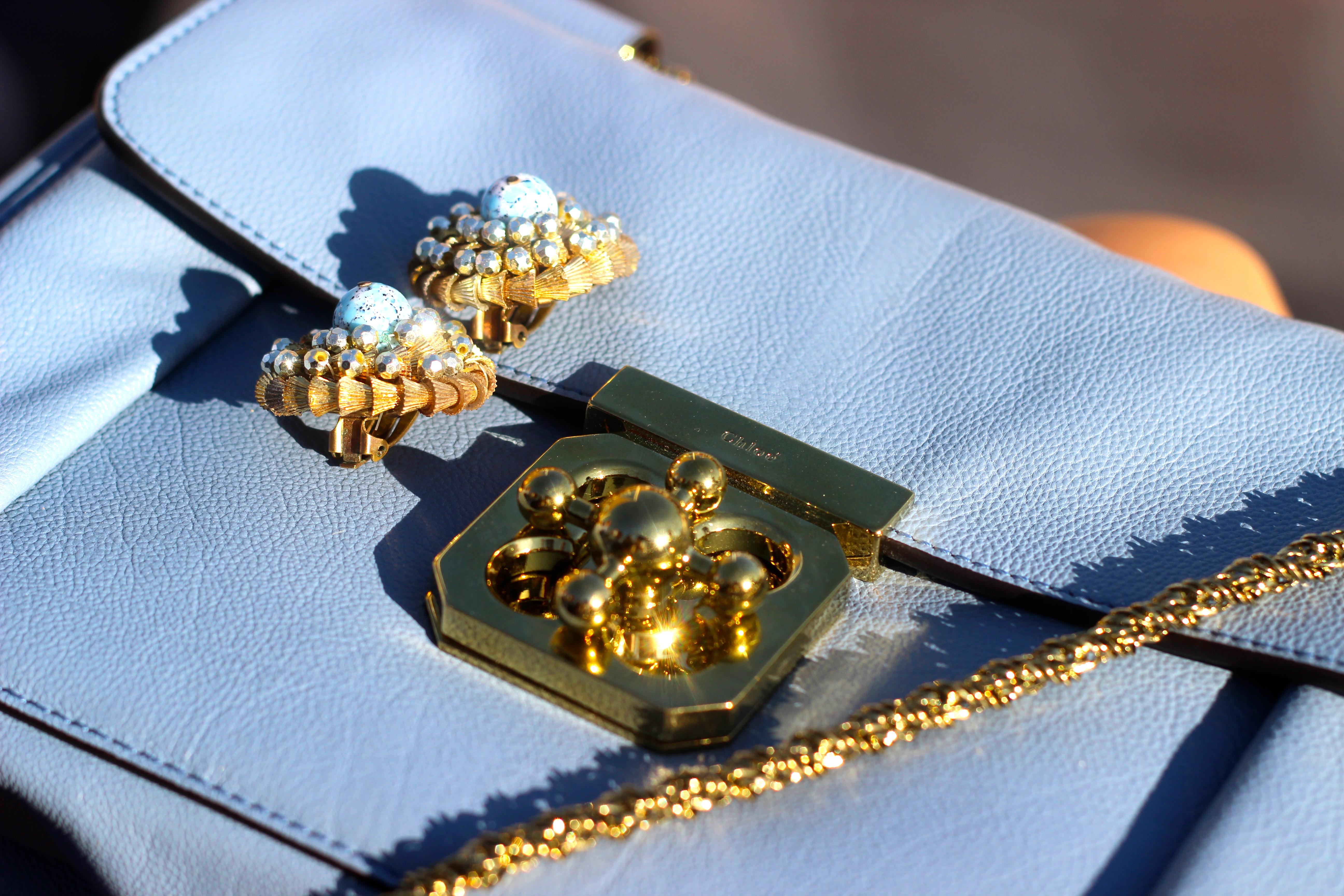 blue chloe elsie bag vintage blue 1940s earrings