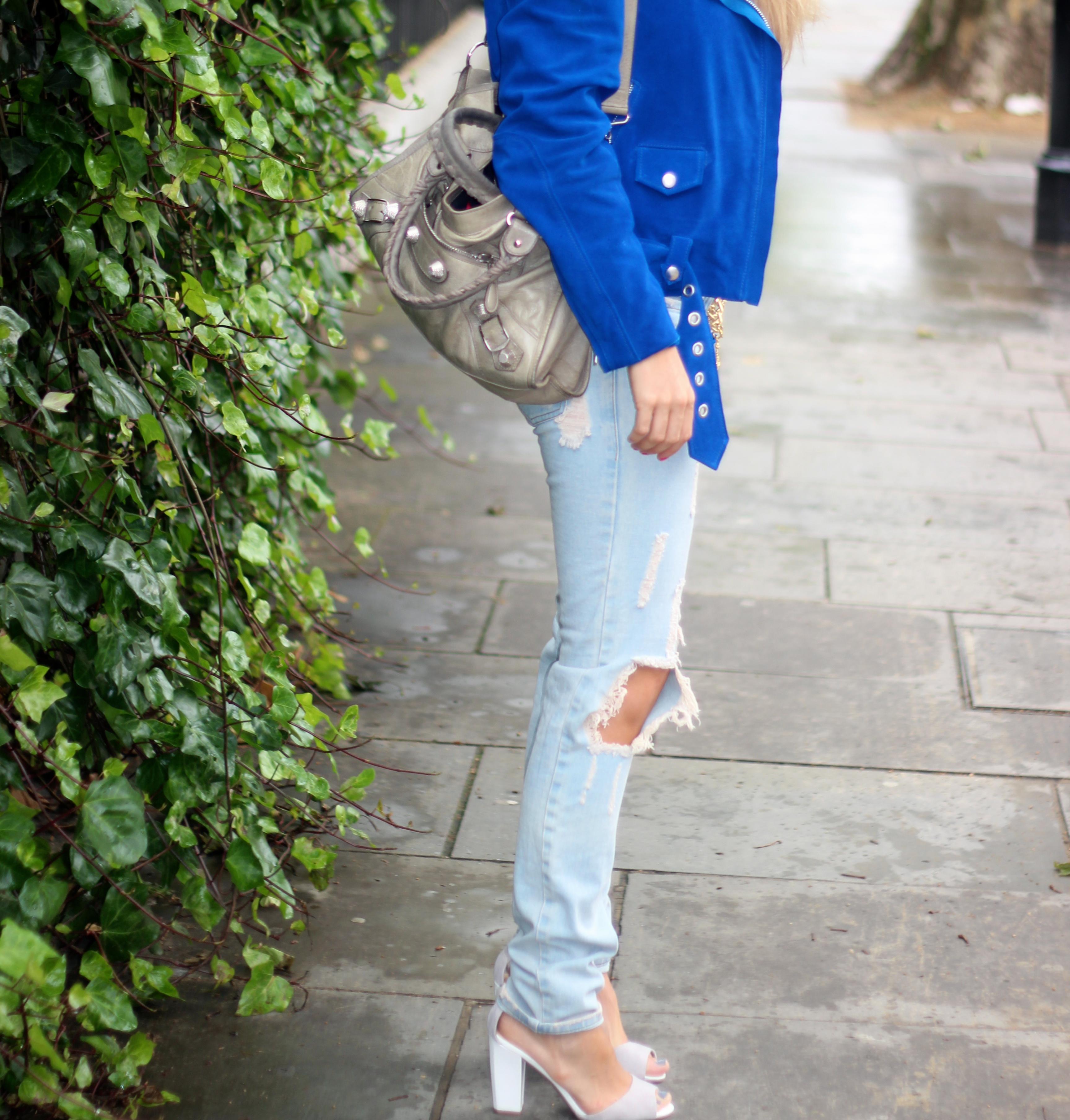 grey balancing purse balenciaga bag ripped jeans ripped pants acne jacket