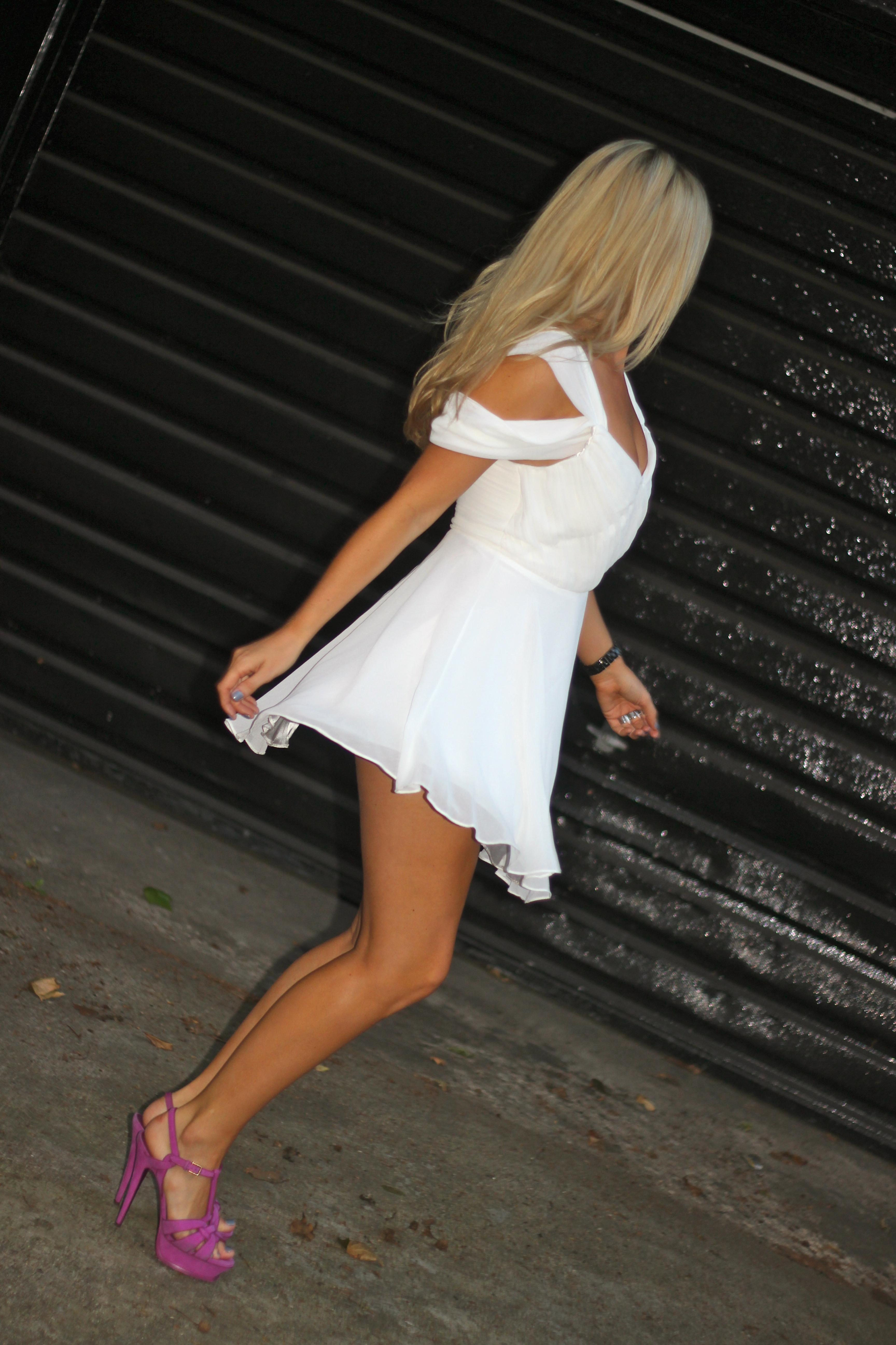 white floaty dress
