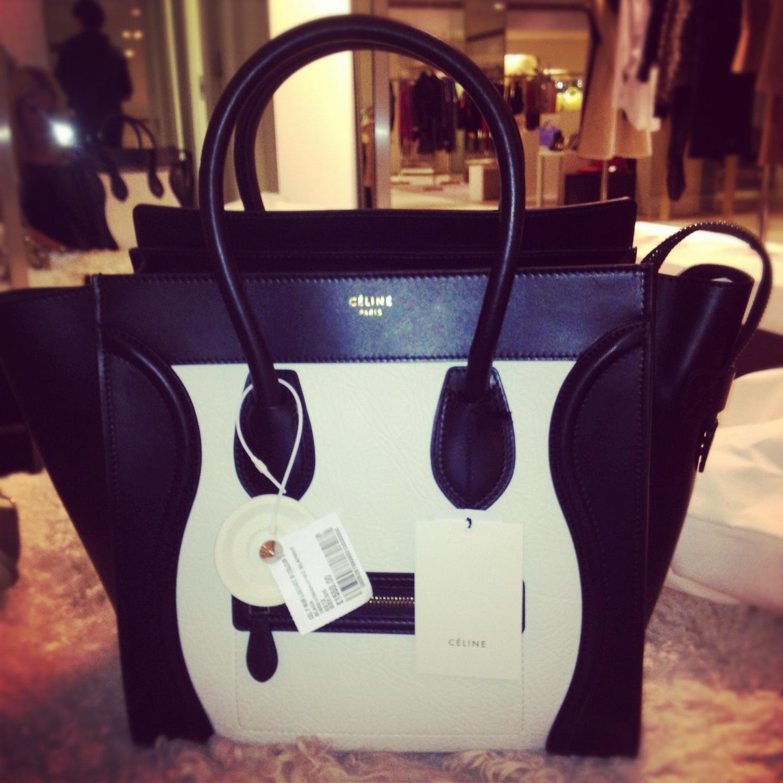 celine mini luggage black and white purse bag