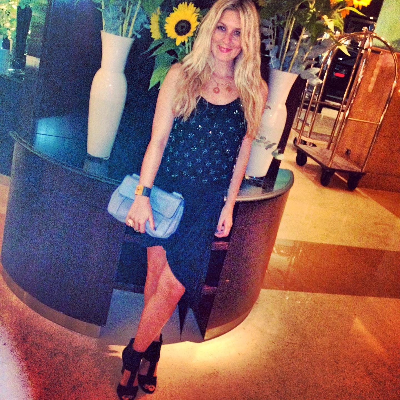 helmut lang black skirt embellished top