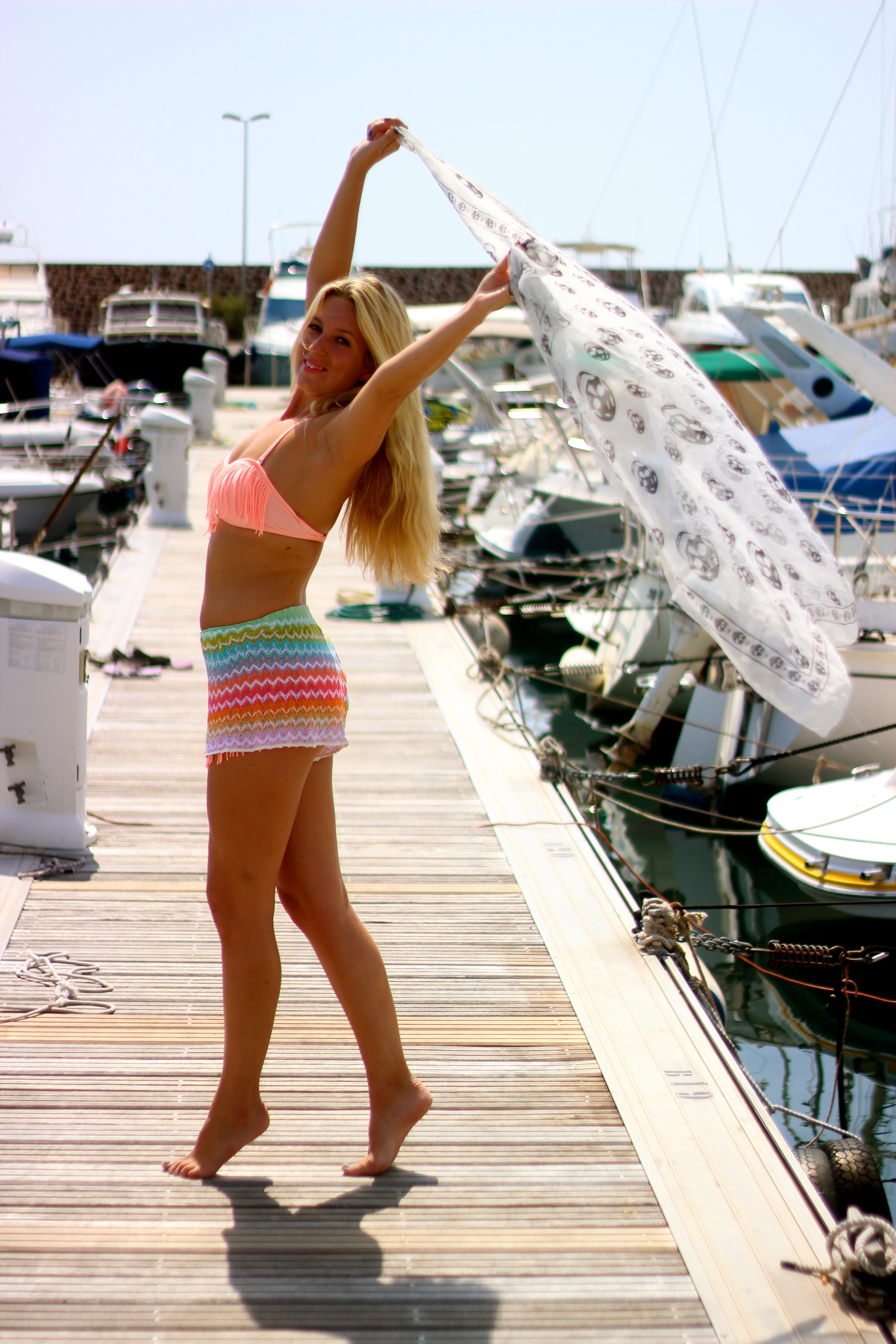 Missoni shorts tassel bikini beach look