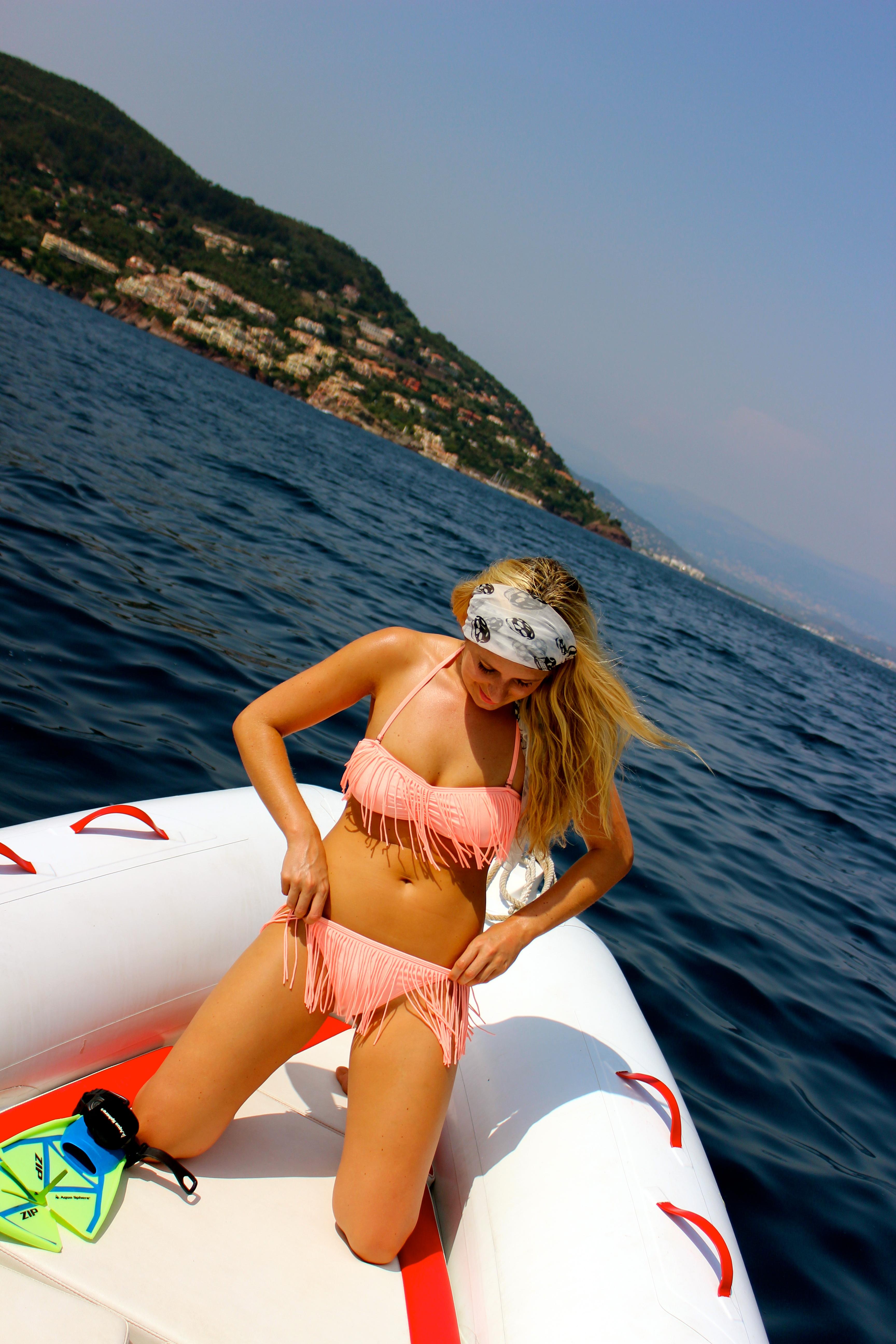 peach bikini tassel bikini