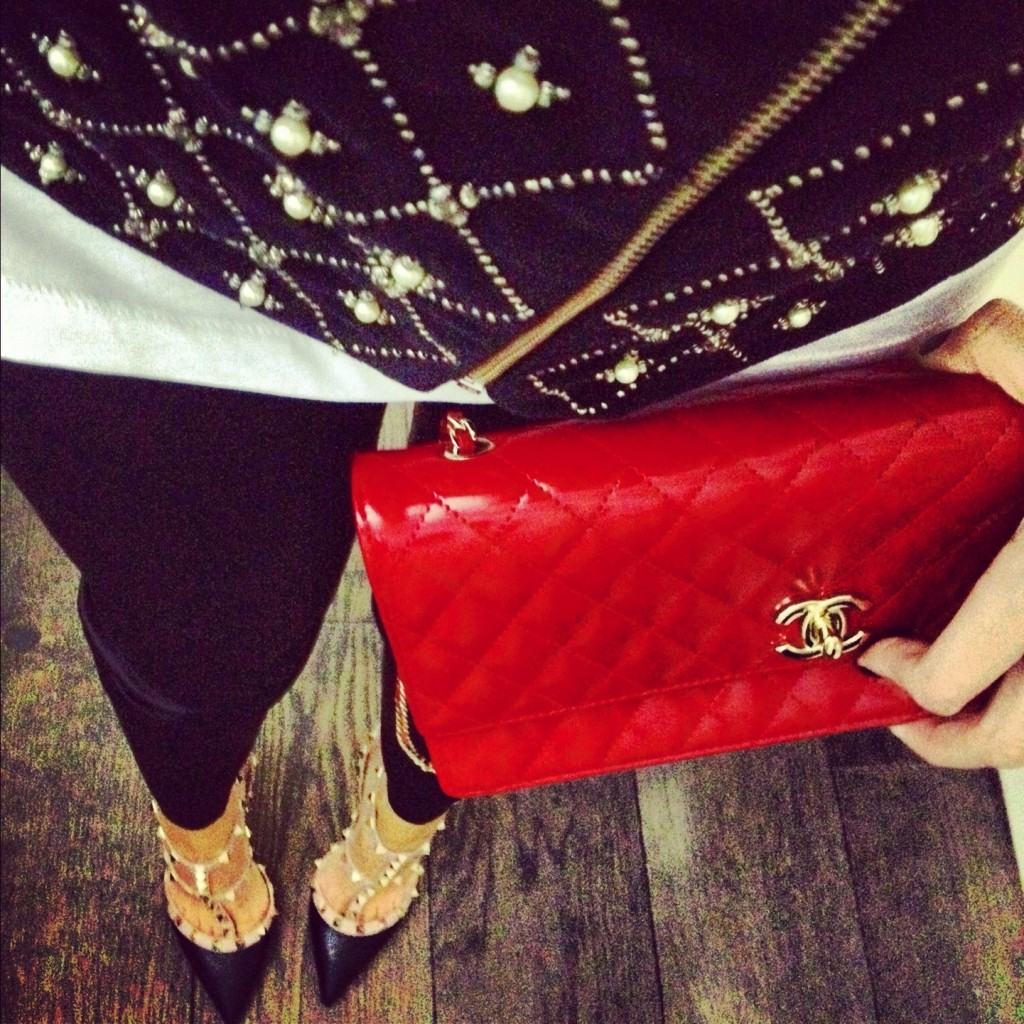 red chanel bag valentino shoes