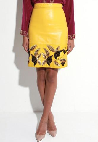 virgos lounge yellow leather skirt