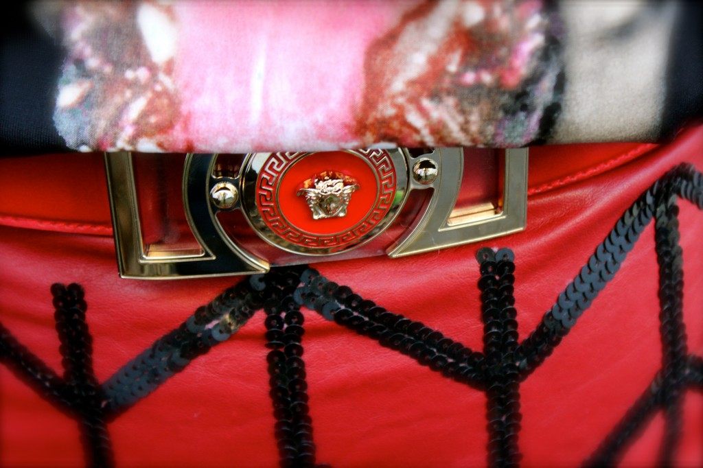 red versace belt