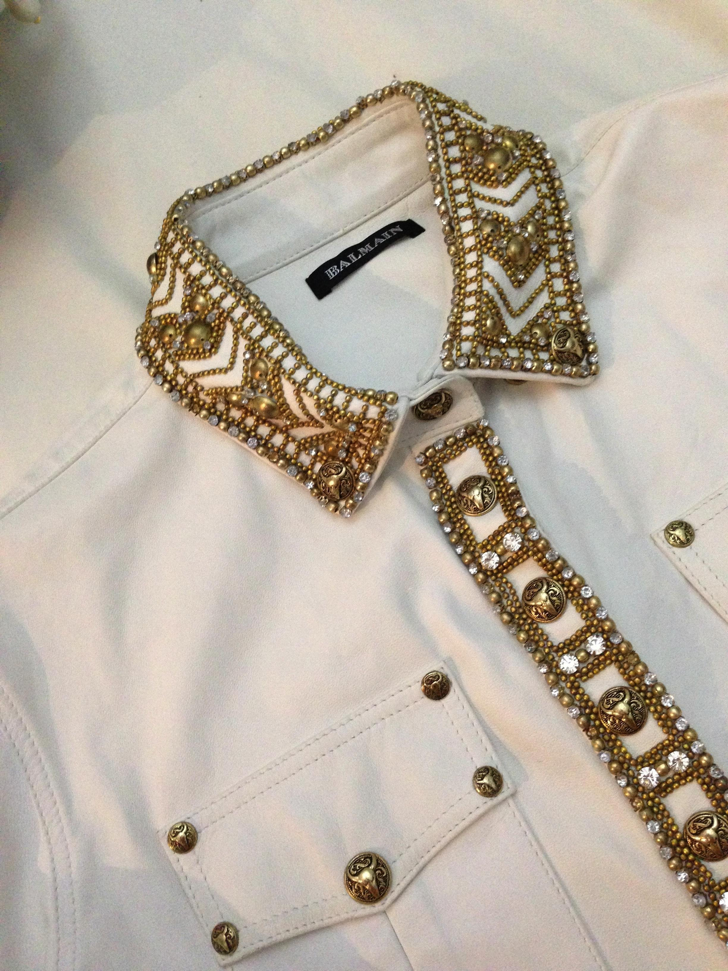 balmain leather shirt