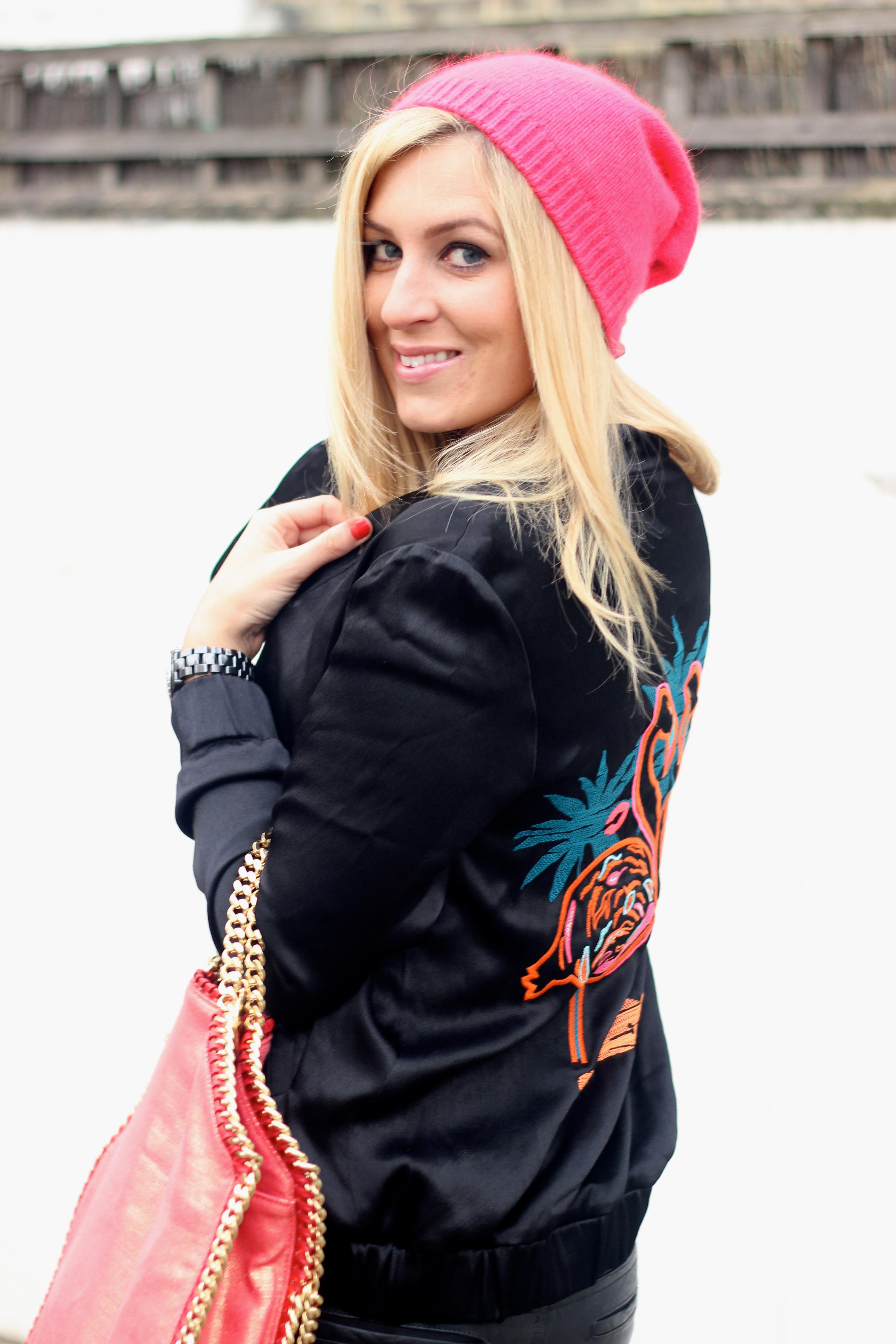 h&m flamingo jacket