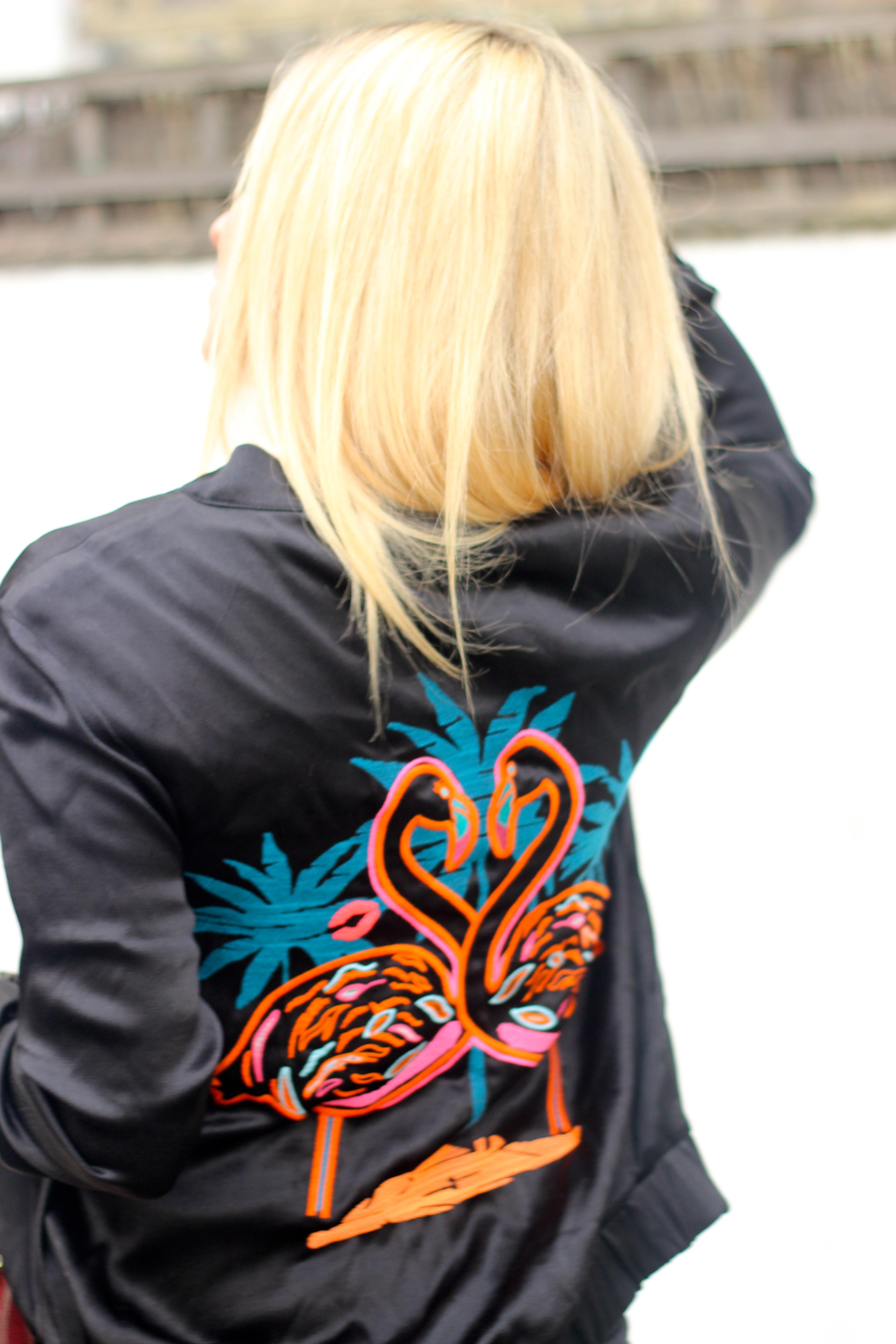 pink flamingo silk jacket