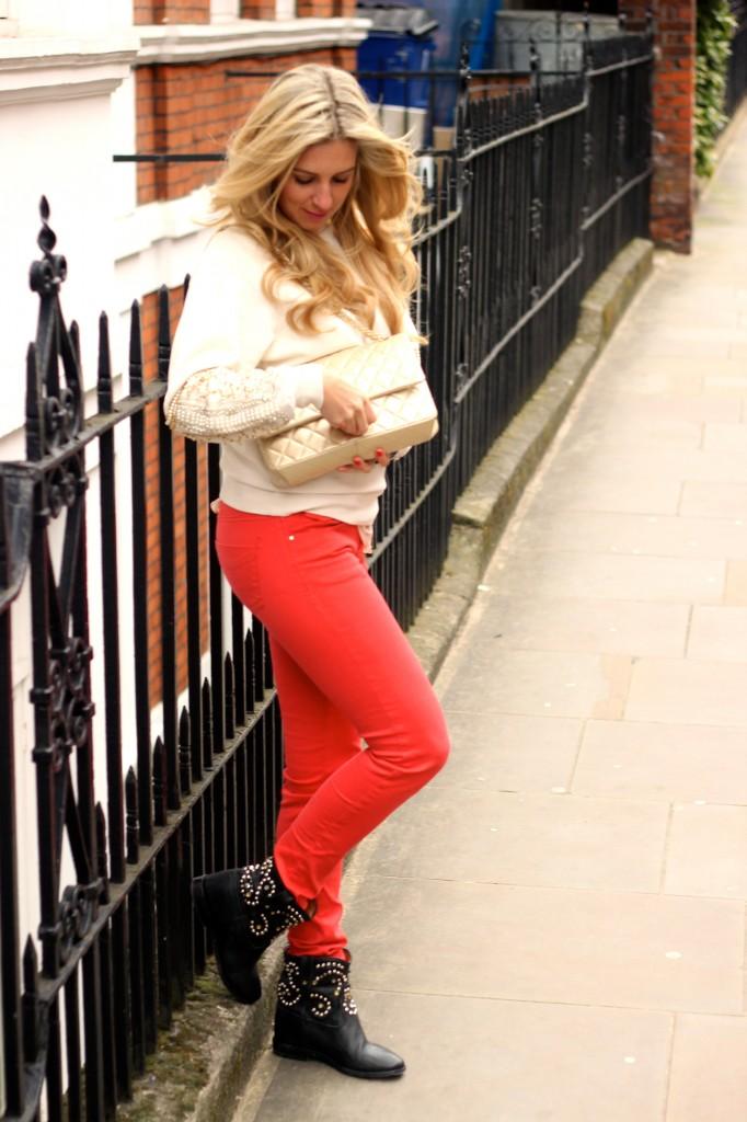 red denim jeans pants