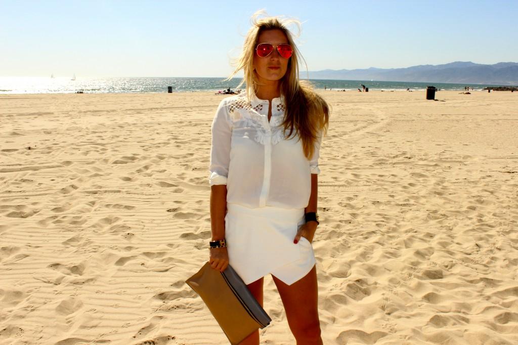 white asymmetric shorts