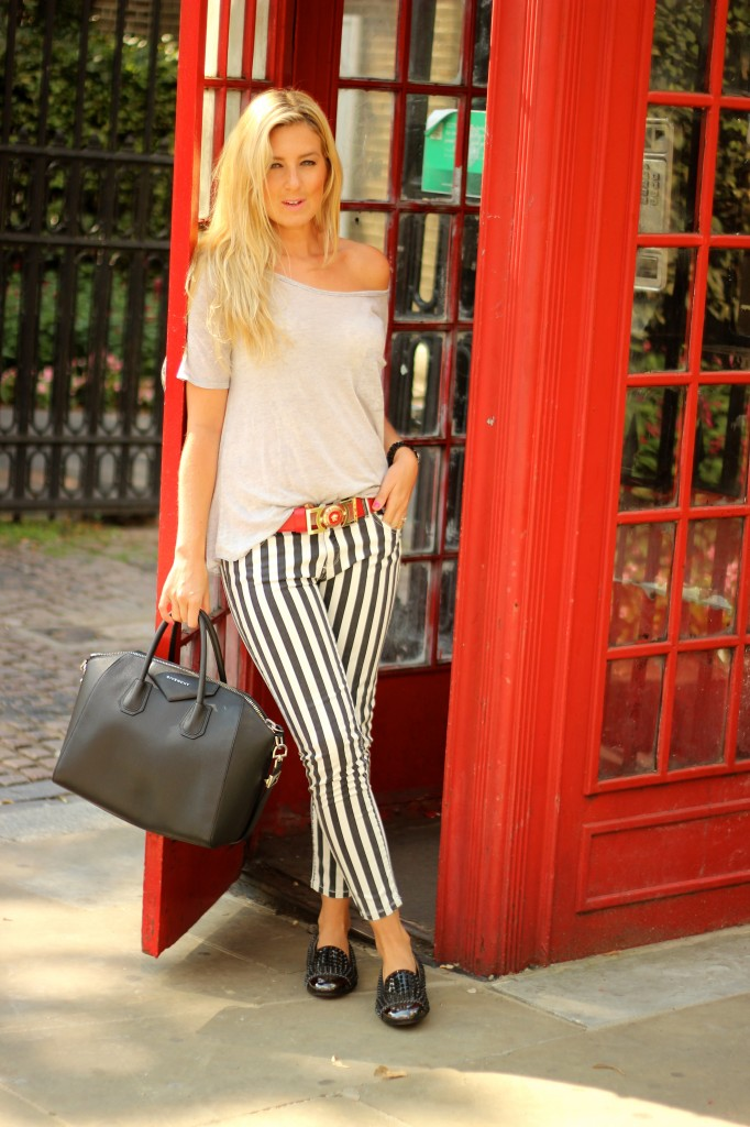 black and white stripped jeans