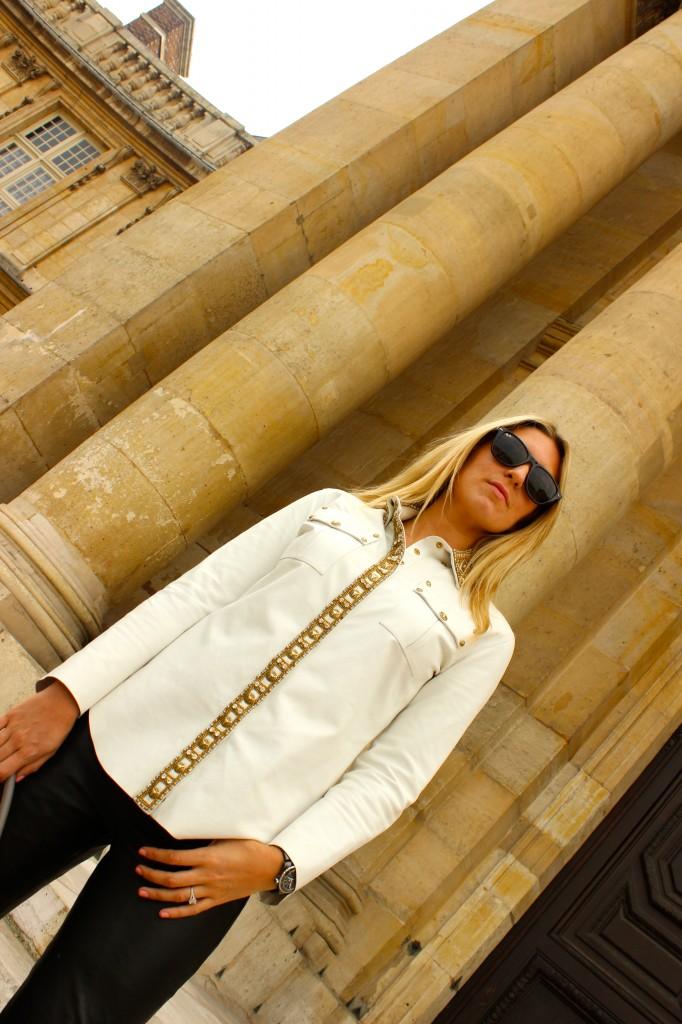 white embellished leather shirt