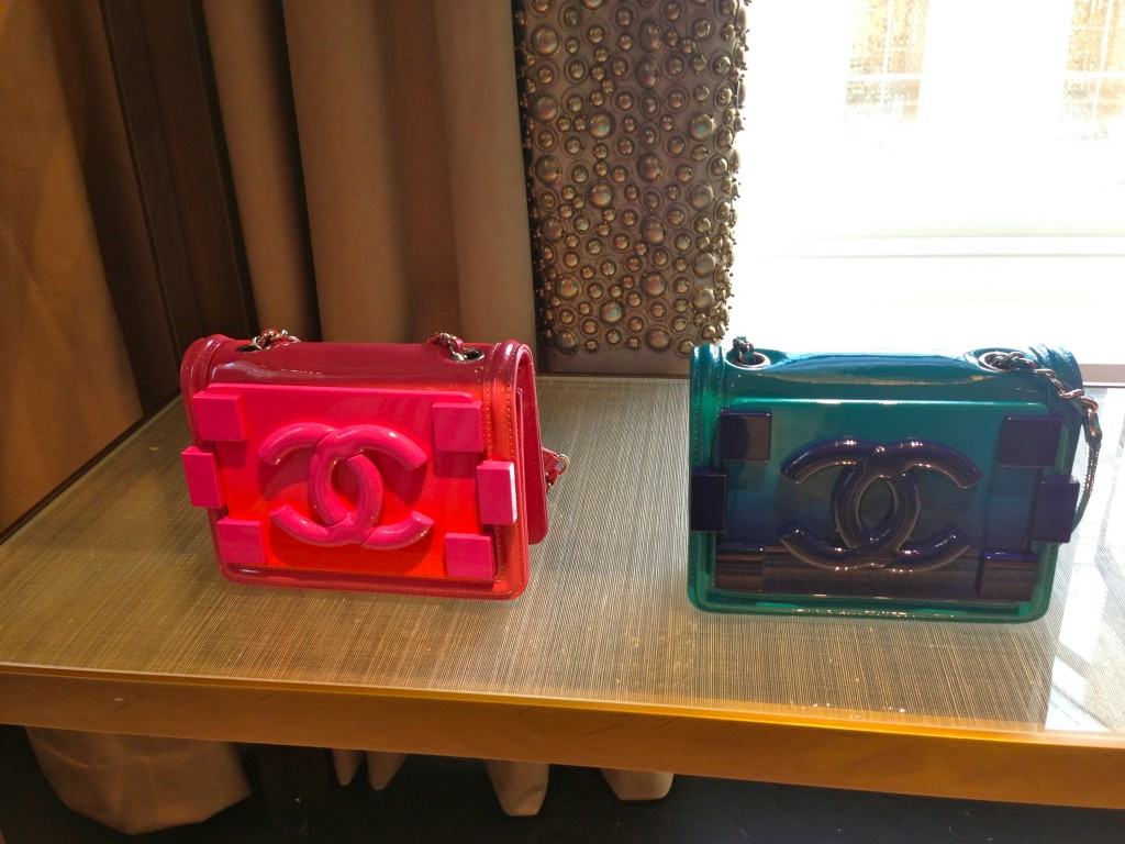 perspex chanel pink clutch