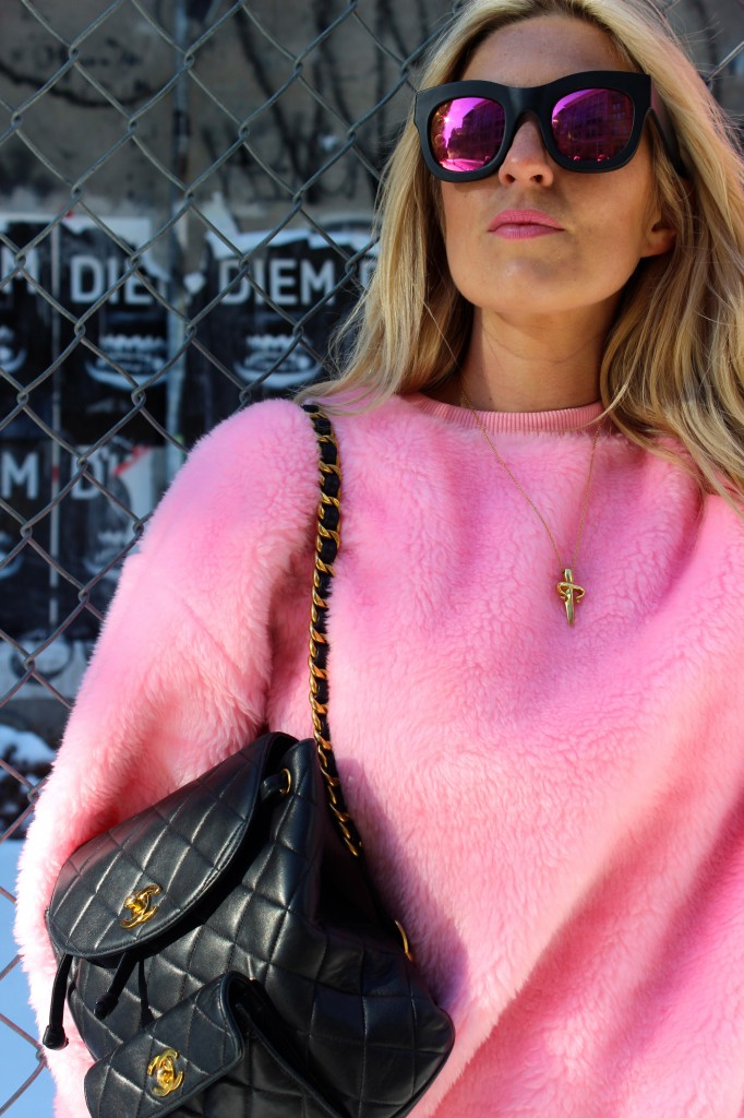 pink fluffy jumper