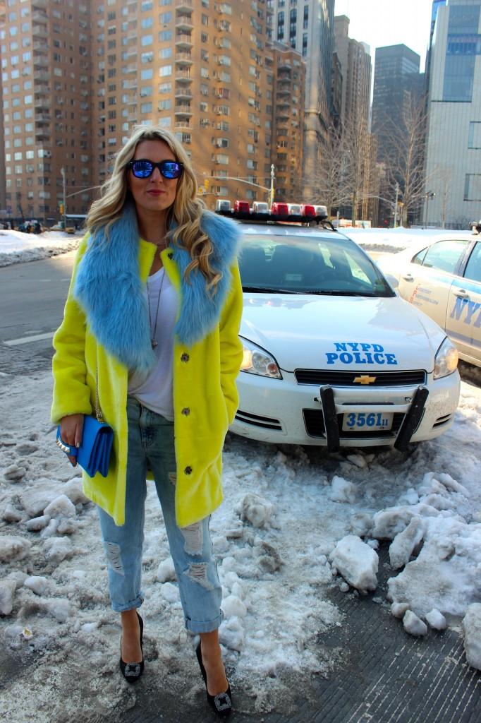 blue fur scarf