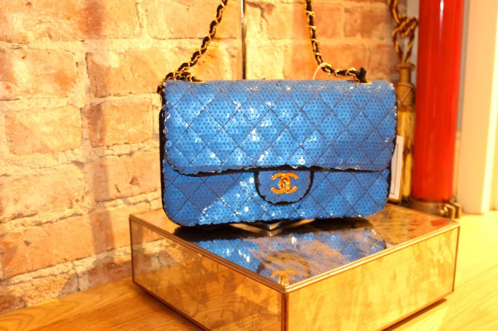 blue sequin chanel bag