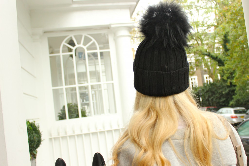 black wool fur bobble hat cheap