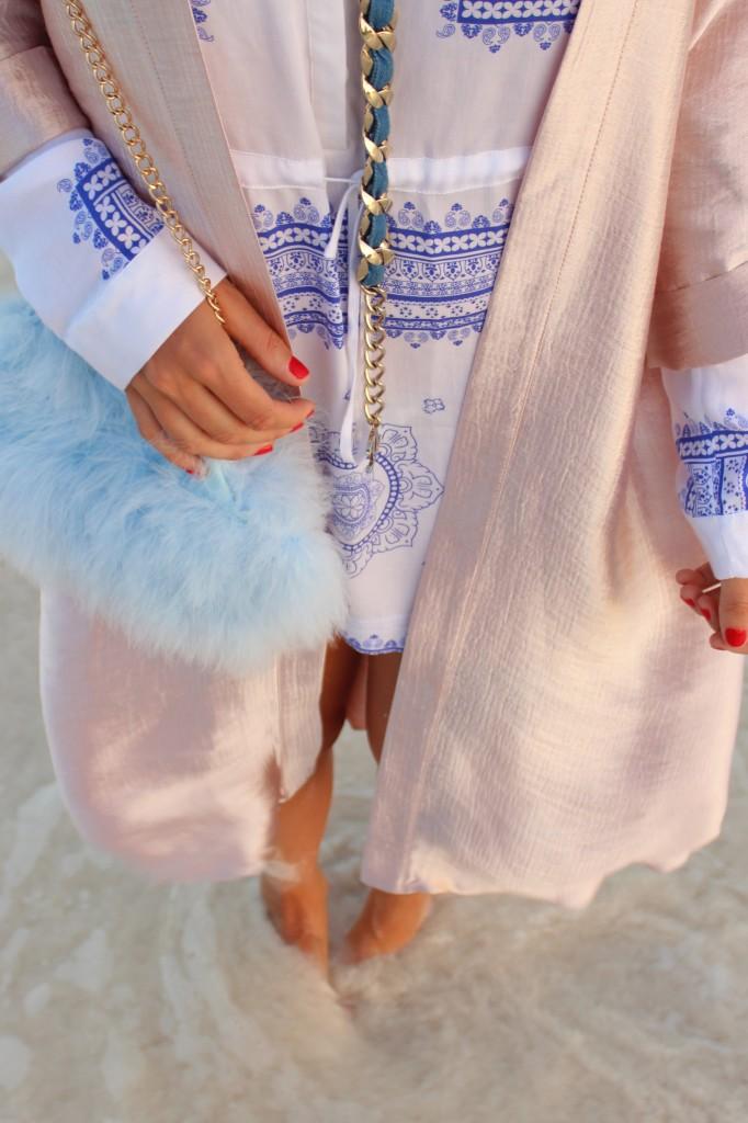baby blue fluffy cross body bag