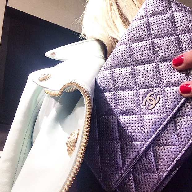 lilac chanel wallat on a chain
