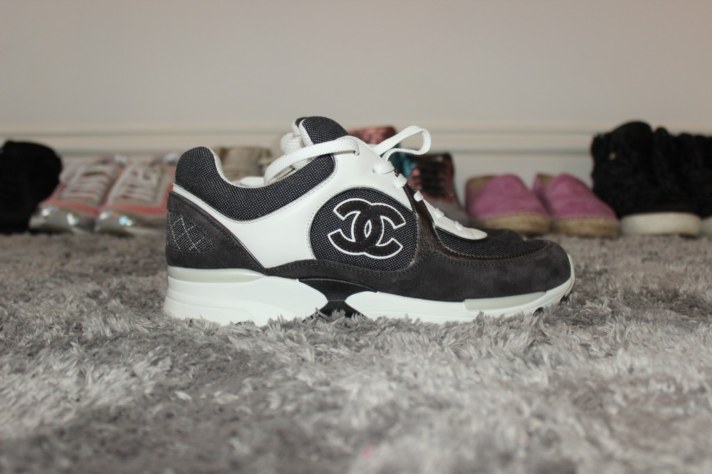 WHITE AND BLACK CHANEL TRAINERS