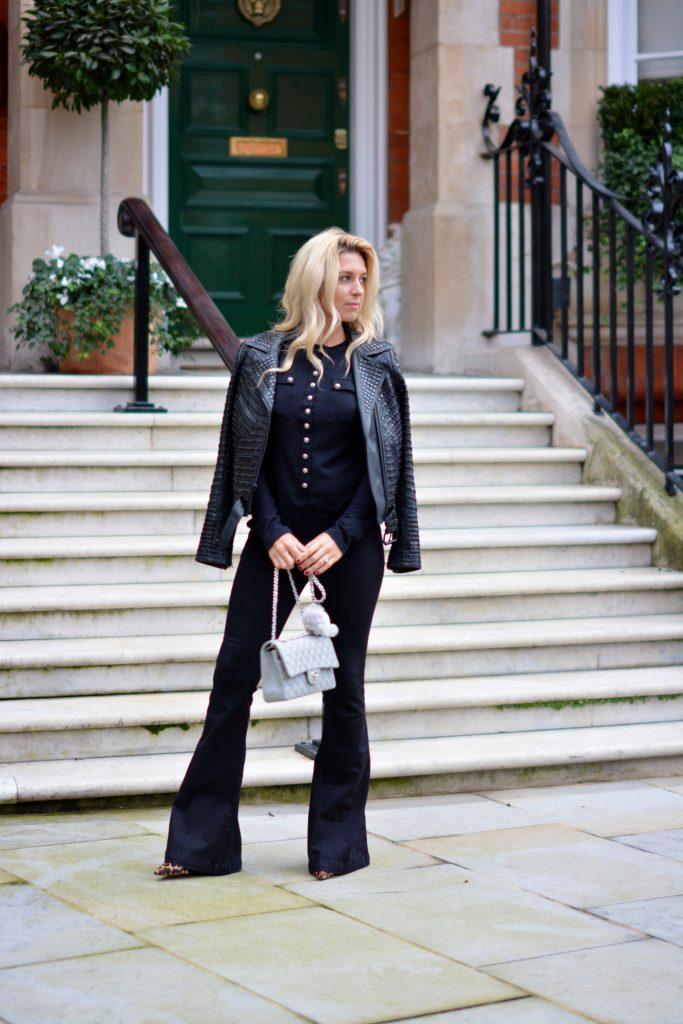 blacked studded leather jacket