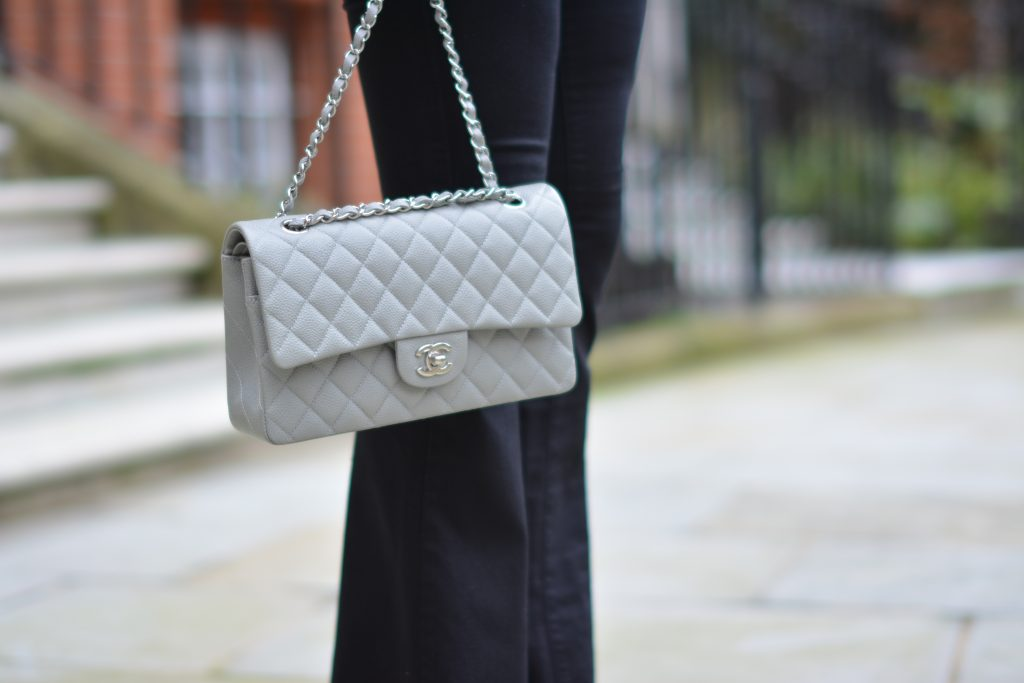 grey chanel bag silver hw