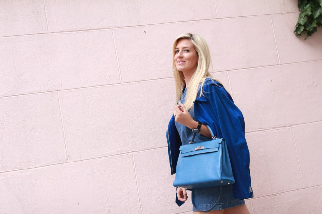 hermes blue jean togo with silver hard ware kelly bag